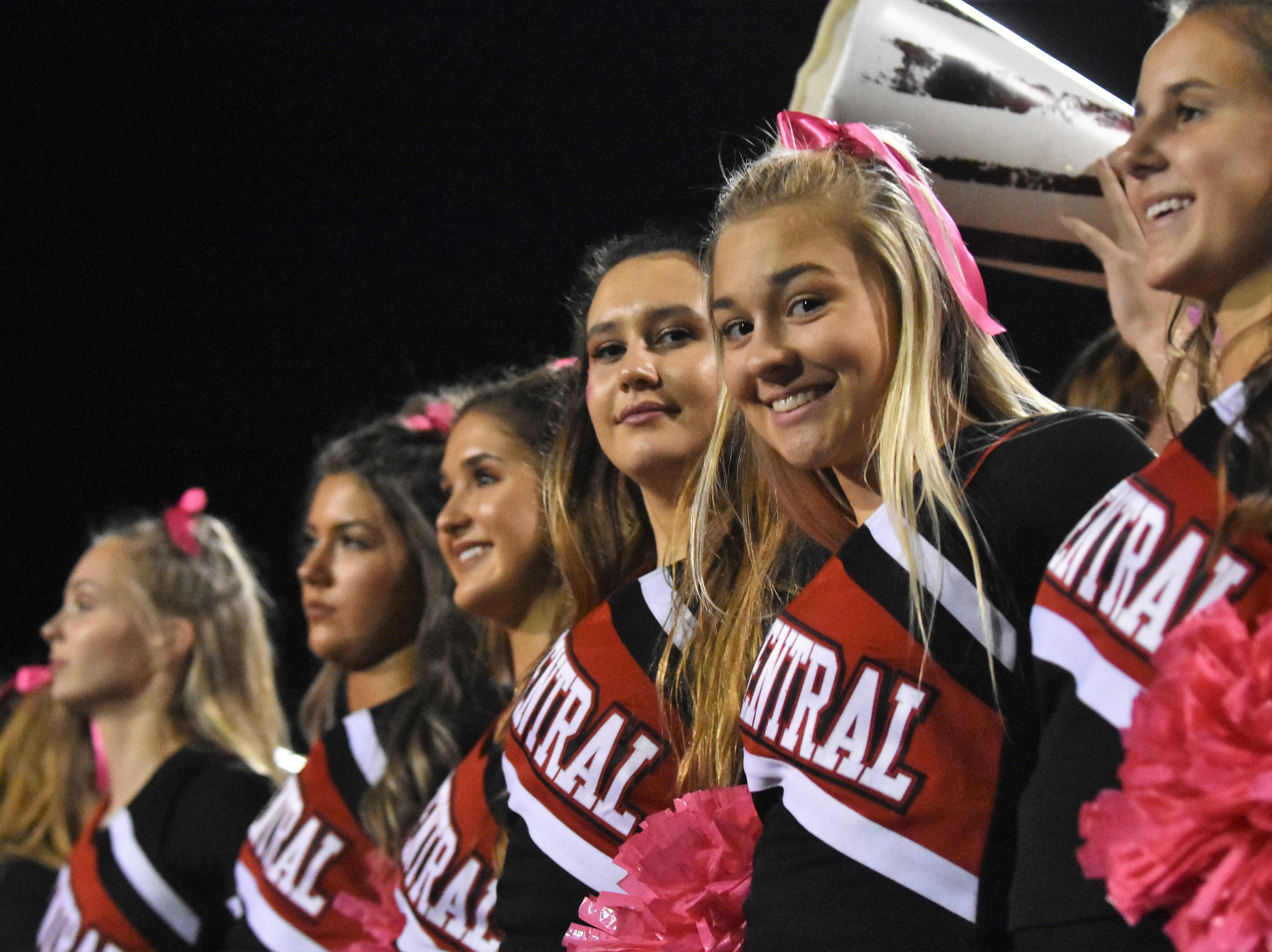 The Central High cheerleaders are all smiles as the Bobcats defeat the South-Doyle Cherokees, 35-0 on Friday, Oct. 19.
