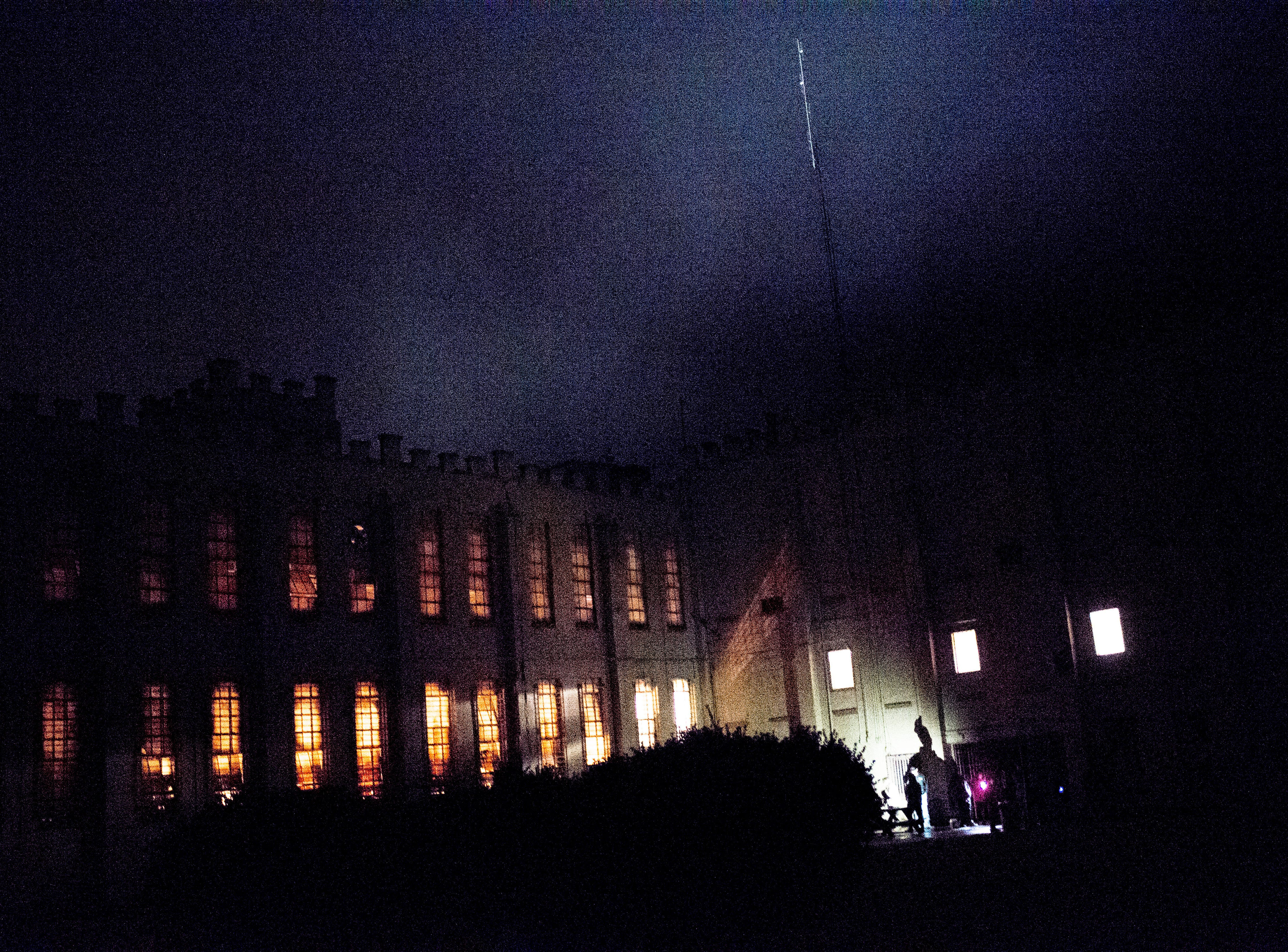 A view of the jail from the courtyard during a paranormal flashlight tour of Brushy Mountain State Penitentiary in Petros, Tennessee on Tuesday, October 16, 2018.