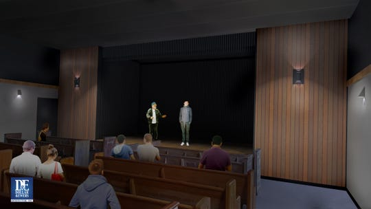 Theatre Knoxville Downtown has, after years of looking, found a new home in a former church building on Central Street. This rendering shows what the theater will look like inside after renovations.
