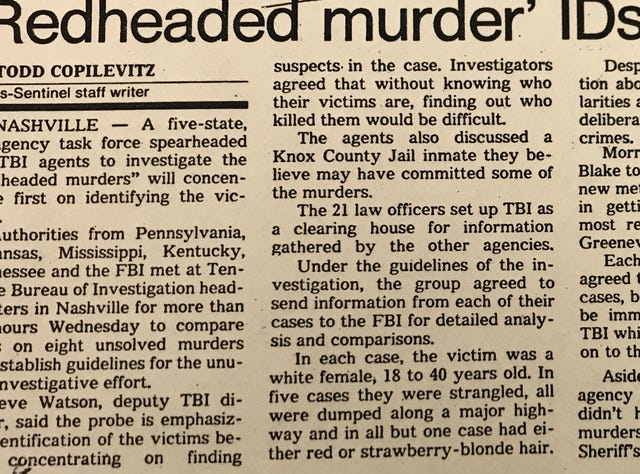 Redhead Murders among alarming trend of cold-case highway homicides
