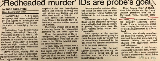 A News Sentinel clipping from 1985 on the 'Redhead Murders.'