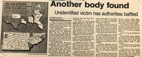 A News Sentinel clipping from 1985 on the 'Redhead Murders'
