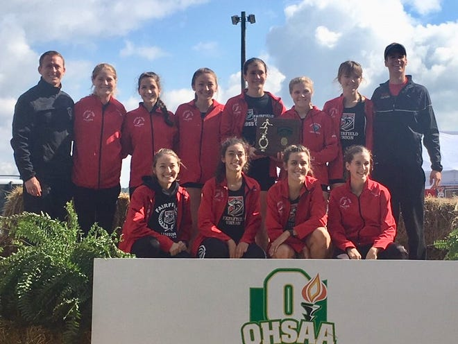 The Fairfield Union girls' cross country team won the Division II Southeast District championship for the second consecutive year on Saturday at the University of Rio Grande. The Falcons will compete in the regional meet on Saturday at Pickerington North.