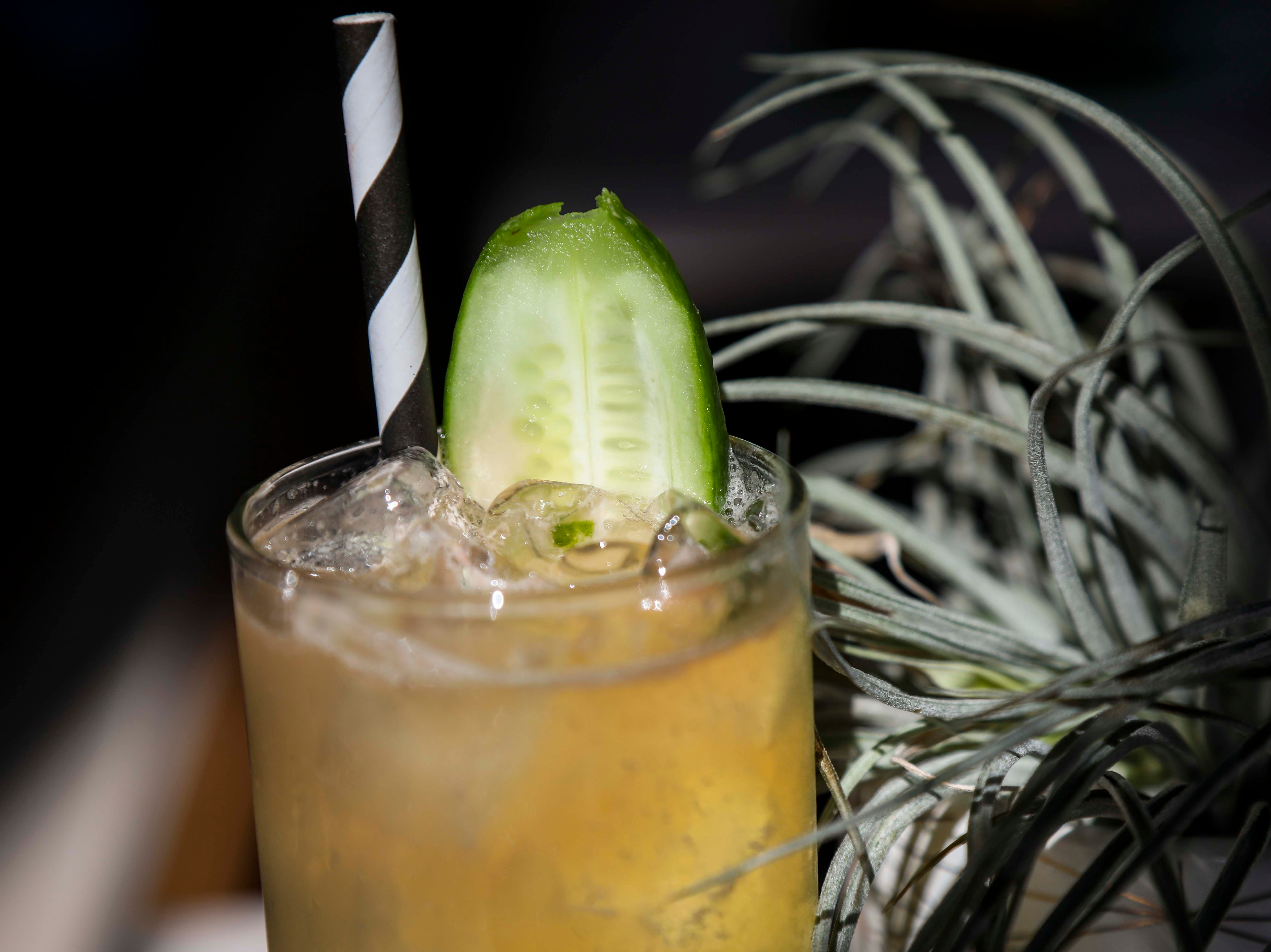 The Thought That Counts cocktail, a vodka based cocktail with fresh squeezed lime juice, house made cucumber syrup, aromatic bitters and a strip of English cucumber to garnish inside Naive in NuLu on October 18, 2018.