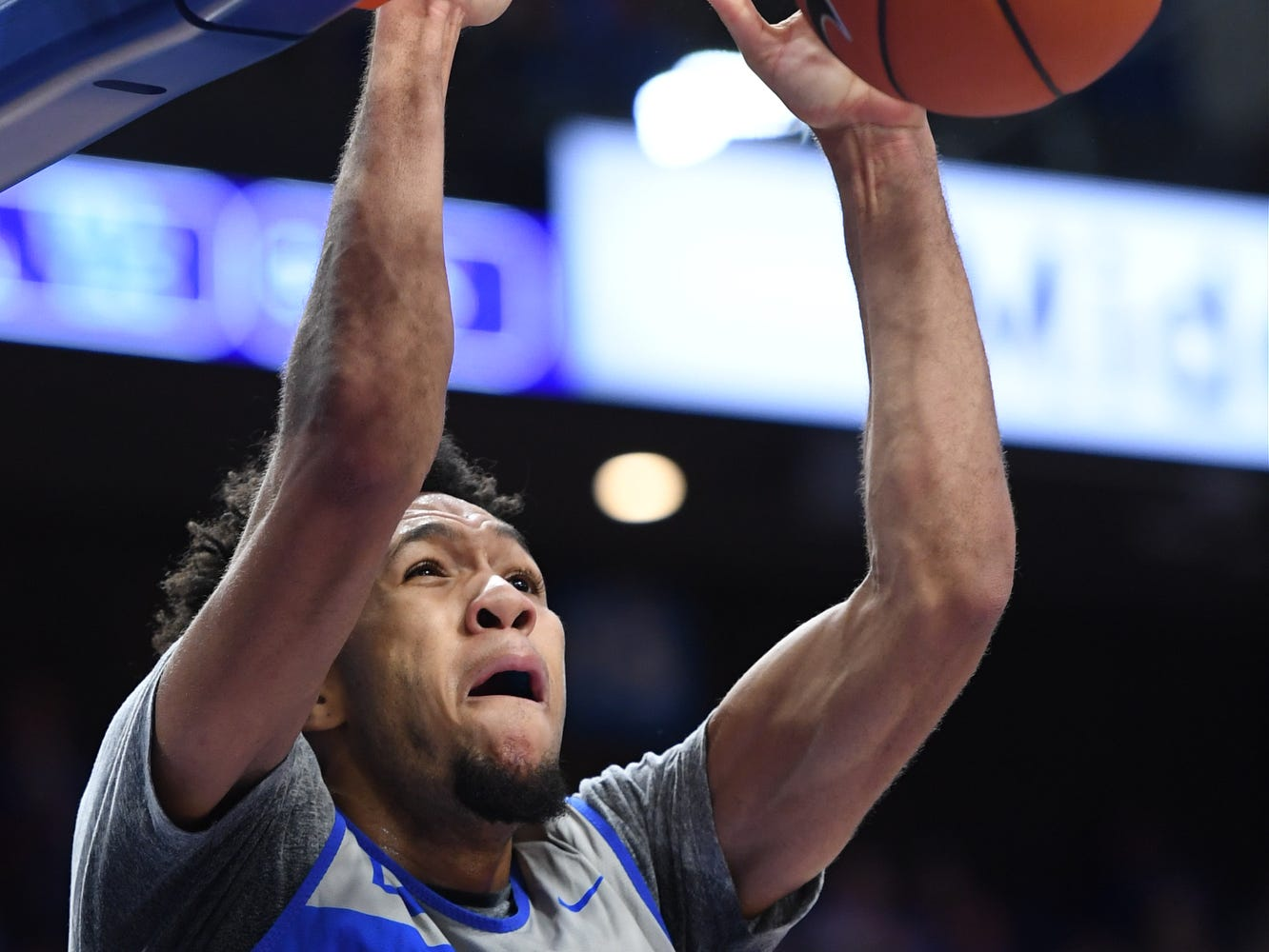 UK F EJ Montgomery dunks during the University of Kentucky mens basketball Blue/White game at Rupp Arena in Lexington, Kentucky on Sunday, October 21, 2018.