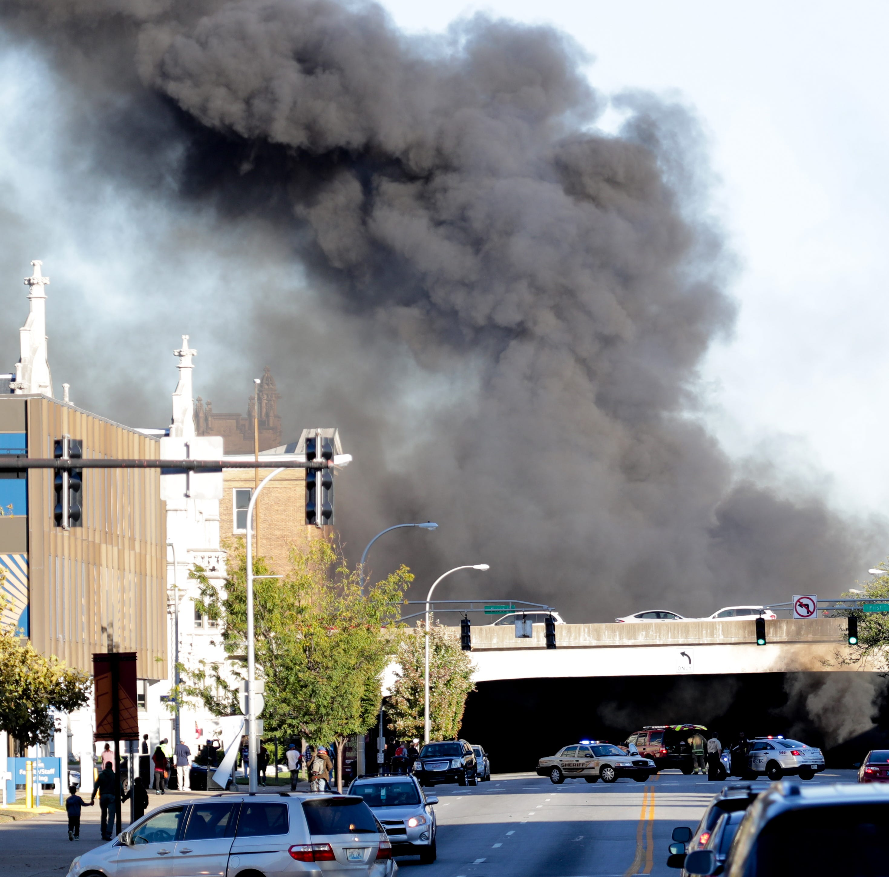 At least one dead in semitruck catches fire at Broadway, Brook Street