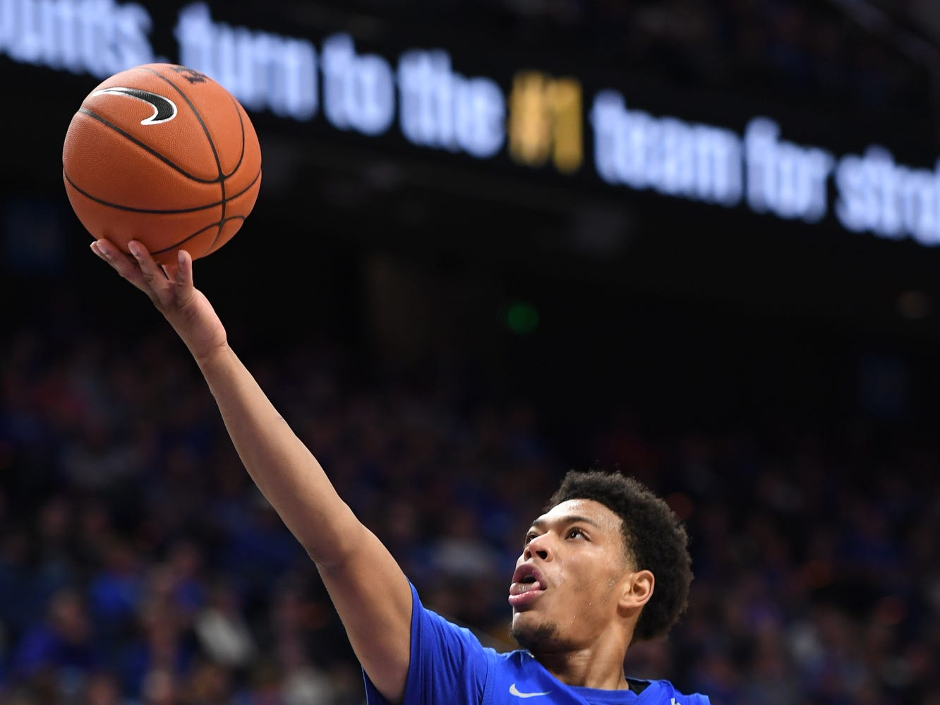 UK G Quade Green lays up the ball during the University of Kentucky mens basketball Blue/White game at Rupp Arena in Lexington, Kentucky on Sunday, October 21, 2018.