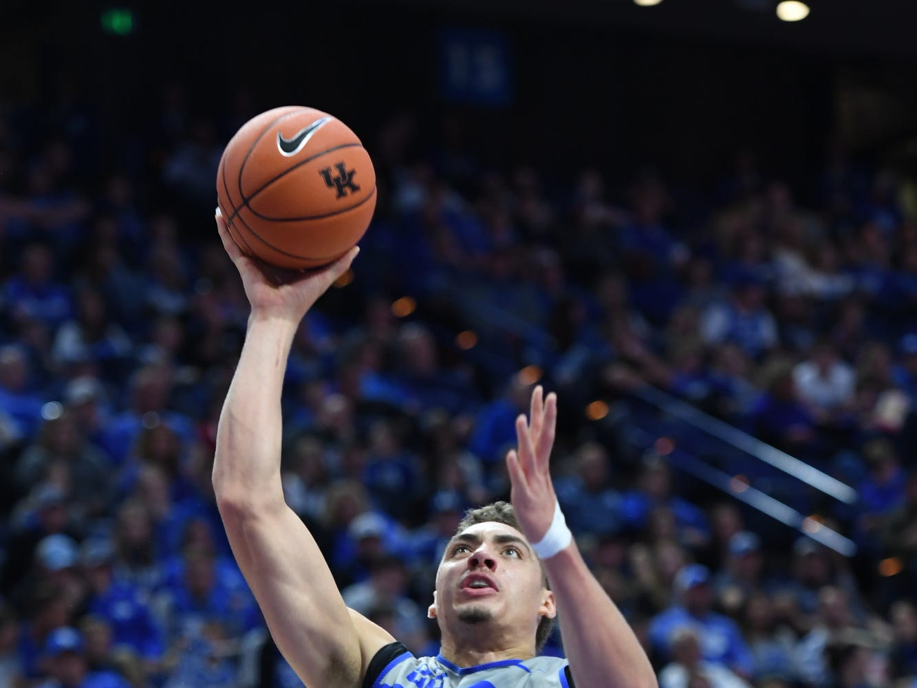 UK F Reid Travis lays up the ball during the University of Kentucky mens basketball Blue/White game at Rupp Arena in Lexington, Kentucky on Sunday, October 21, 2018.