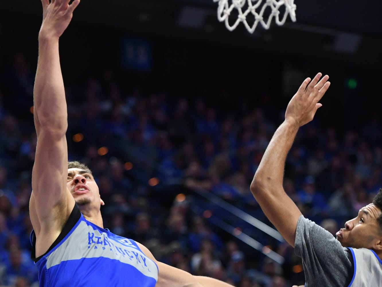 UK F Reid Travis puts up the ball during the University of Kentucky mens basketball Blue/White game at Rupp Arena in Lexington, Kentucky on Sunday, October 21, 2018.