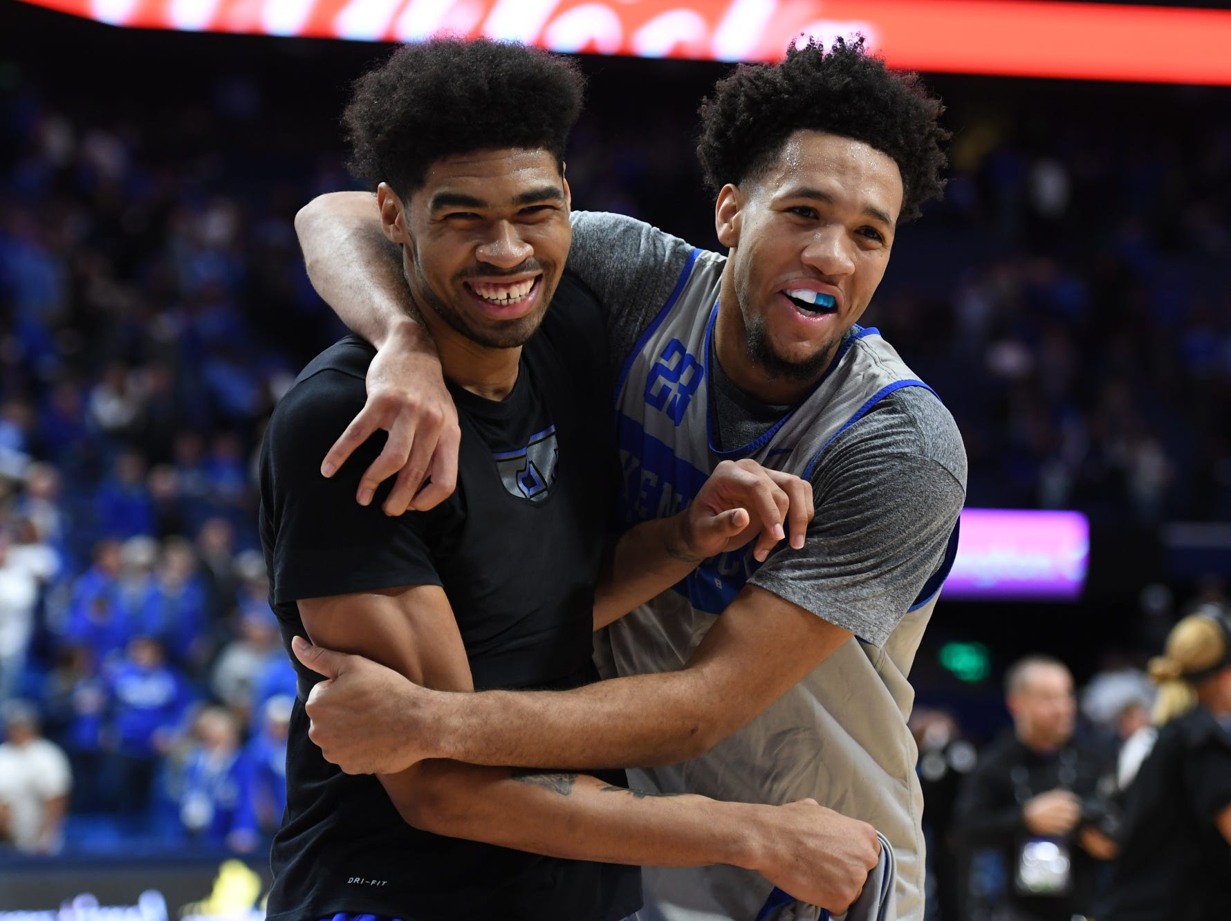 UK forwards Nick Richards and EJ Montgomery hug after the University of Kentucky mens basketball Blue/White game at Rupp Arena in Lexington, Kentucky on Sunday, October 21, 2018.