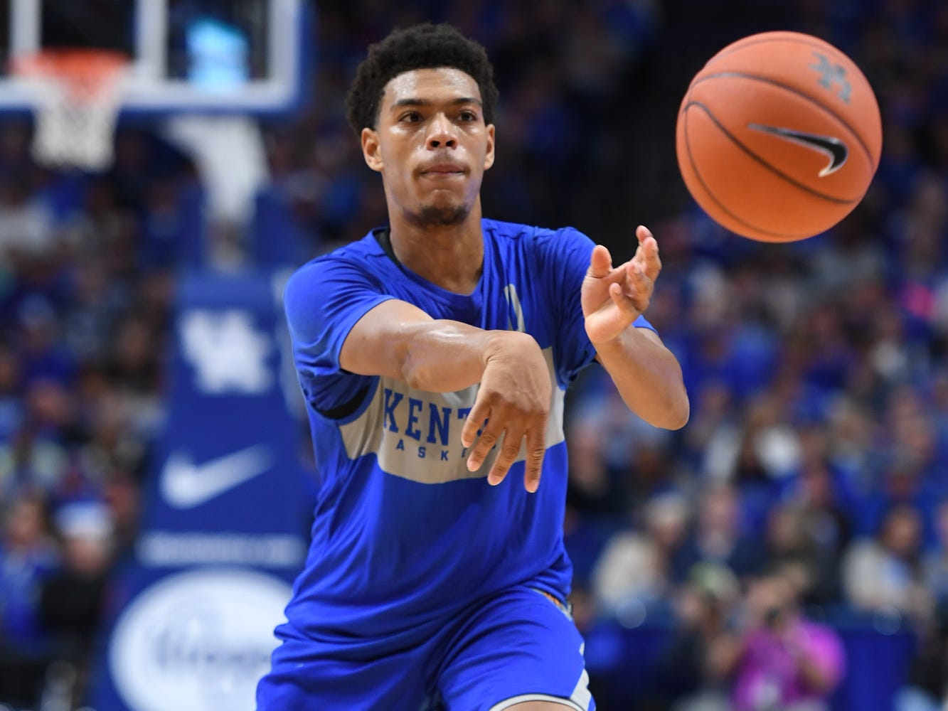 UK G Quade Green passes the ball during the University of Kentucky mens basketball Blue/White game at Rupp Arena in Lexington, Kentucky on Sunday, October 21, 2018.