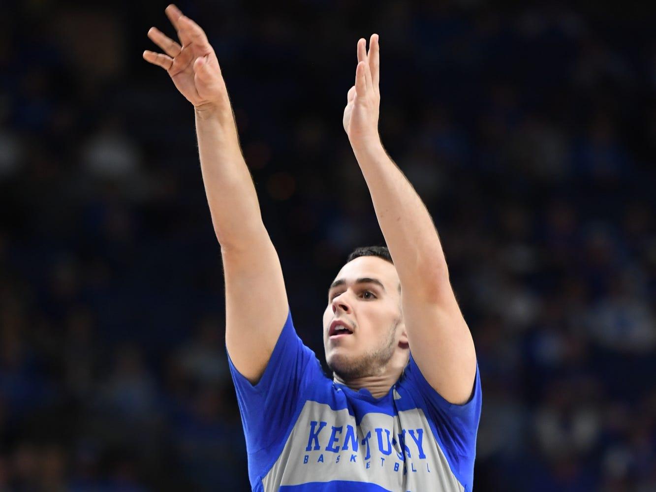 UK G Brad Calipari shoots during the University of Kentucky mens basketball Blue/White game at Rupp Arena in Lexington, Kentucky on Sunday, October 21, 2018.