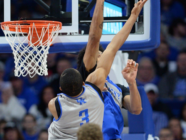 UK F Nick Richards blocks the shot during the University of Kentucky mens basketball Blue/White game at Rupp Arena in Lexington, Kentucky on Sunday, October 21, 2018.