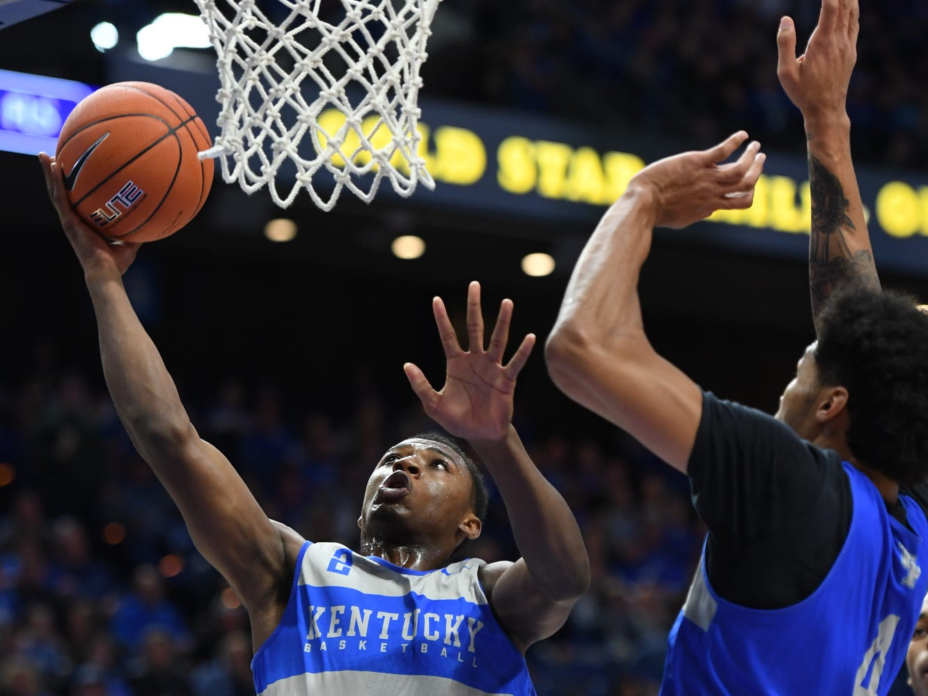 UK G Ashton Hagans puts up the ball during the University of Kentucky mens basketball Blue/White game at Rupp Arena in Lexington, Kentucky on Sunday, October 21, 2018.
