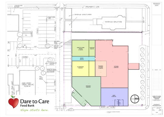 Dare to Care Food Bank has proposed relocating its commercial kitchen to the former Parkland grocery building. Its new space will include a training kitchen and potential grocery store.