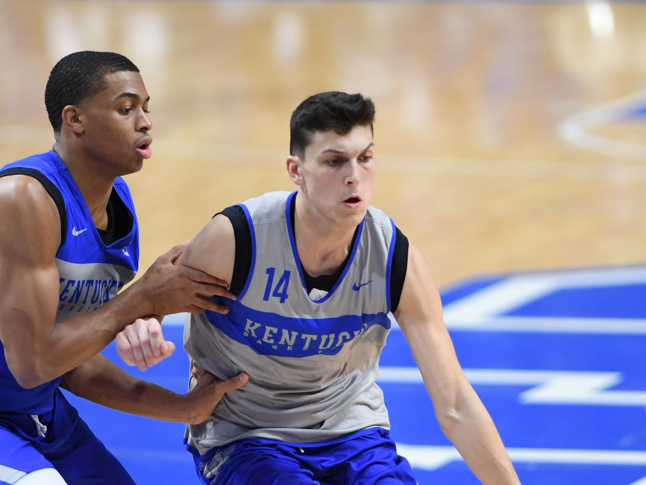 UK G Tyler Herro drives with the ball during the University of Kentucky mens basketball Blue/White game at Rupp Arena in Lexington, Kentucky on Sunday, October 21, 2018.