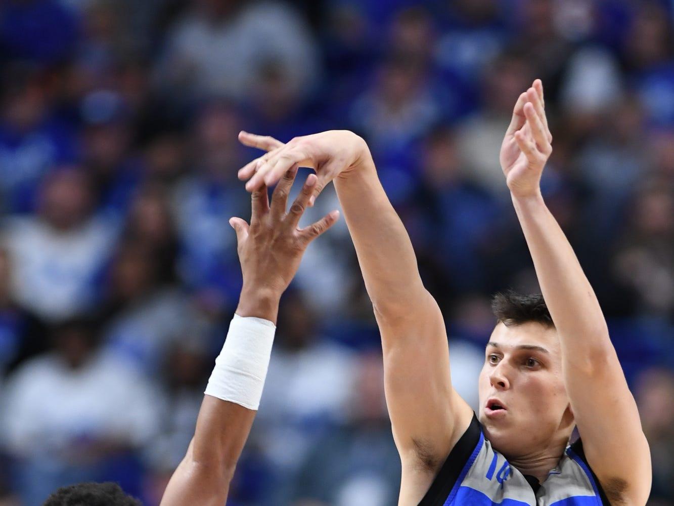 UK G Tyler Herro shoots the ball during the University of Kentucky mens basketball Blue/White game at Rupp Arena in Lexington, Kentucky on Sunday, October 21, 2018.