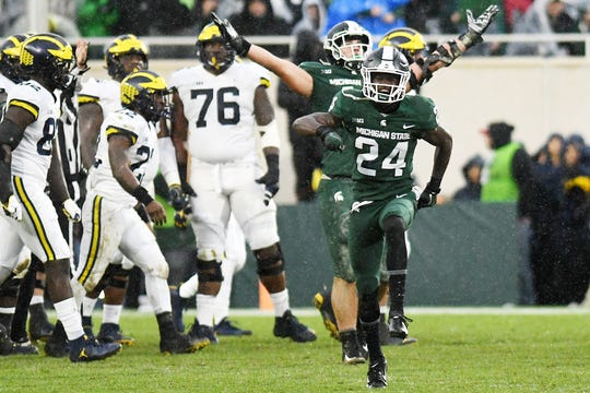 Michigan State's Tre Person celebrates after a Michigan turnover during the third quarter on Saturday, Oct. 20, 2018, in East Lansing.