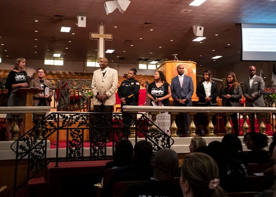 Members of the Memphis Interfaith Coalition for Action and Hope (MICAH) gather to ask statewide candidates and local elected officials to commit to more equitable public policies on Oct. 21.