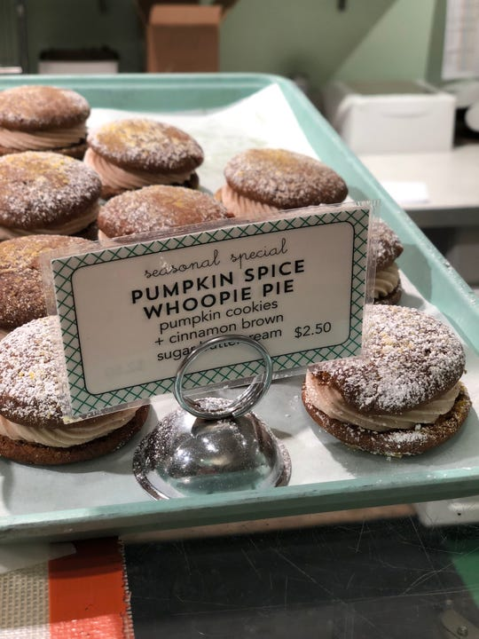 The pumpkin spice whoopie pie at Muddy's Bakeshop is worth every calorie.
