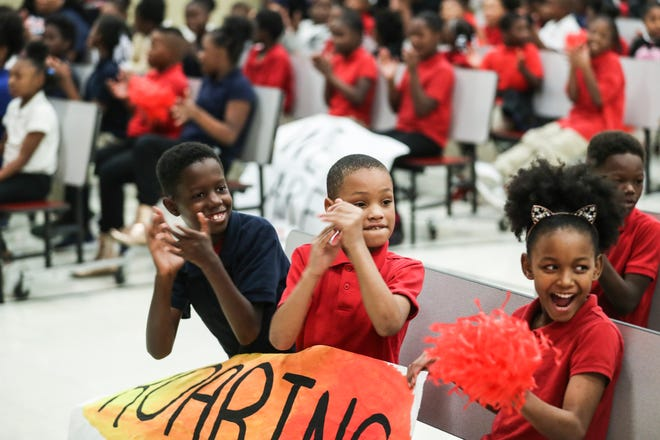October 22 2018 -  A. B. Hill Elementary School students applaud during the We Are 901 Celebration Tour stop at A. B. Hill Elementary School Monday afternoon.