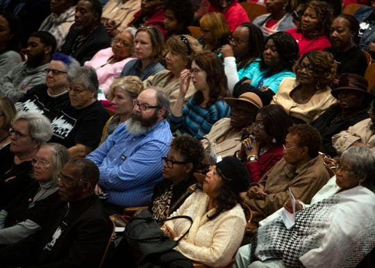 Members of the audience listen to a presentation during the MICAH ,the new interfaith advocacy group, in Memphis call to action meeting Sunday October 21,2018. The purpose of the meeting is for  local elected officials to commit to more equitable public policies.