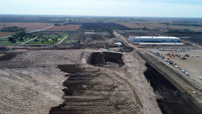 Construction is well underway at the site of the Foxconn Technology Group $10 billion manufacturing and research complex in Mount Pleasant on Oct. 22. The eventual 2,800-acre facility will produce high-definition display panels.