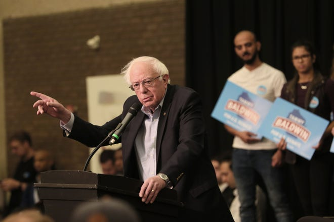 Bernie Sanders attended a rally for Democratic candidates running for office this fall at UW-Milwaukee. Sen. Tammy Baldwin, Tony Evers, Mandela Barnes, Randy Bryce and Gwen Moore were all participating. MICHAEL SEARS/MILWAUKEE JOURNAL SENTINEL