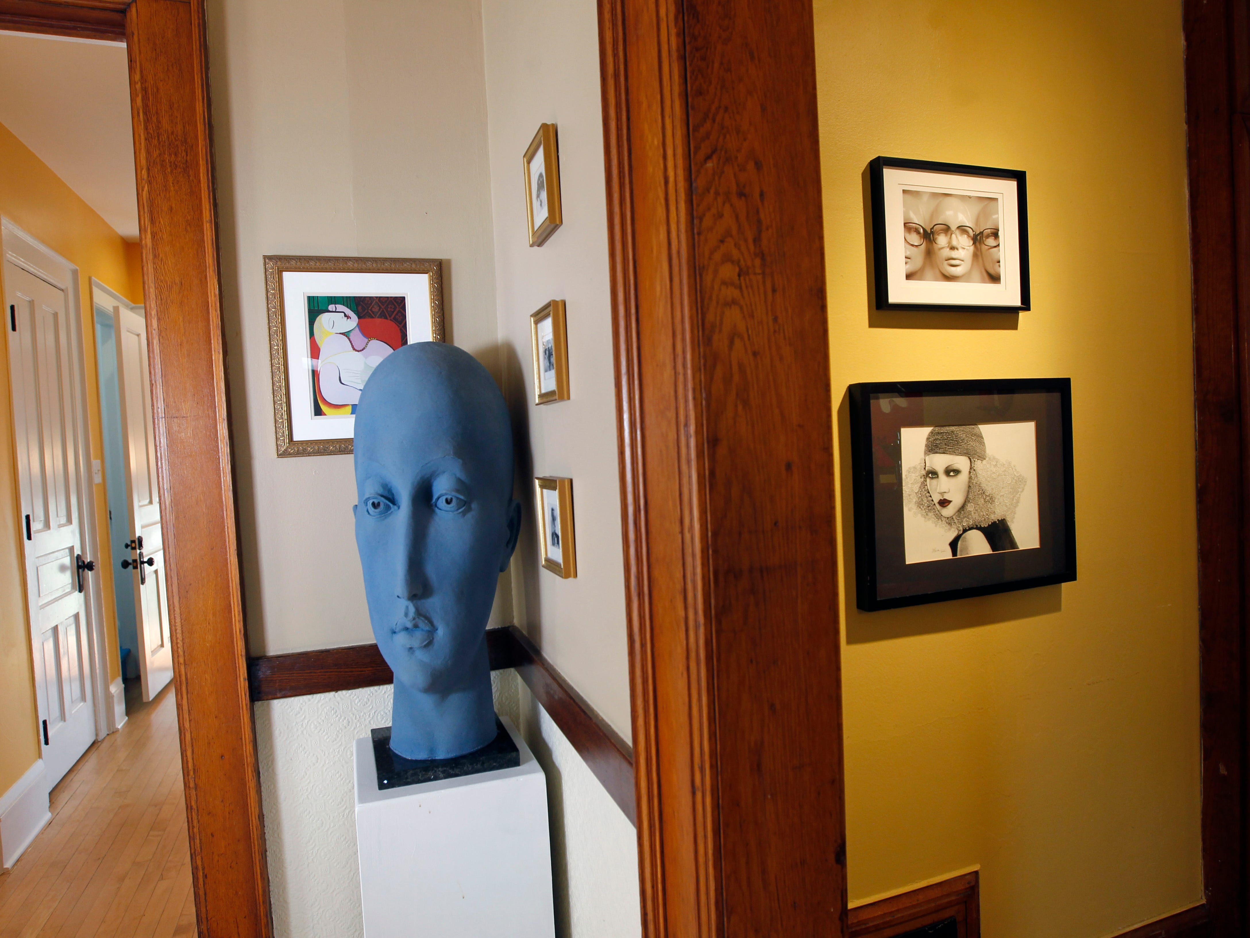 Artwork is on display throughout the house.
