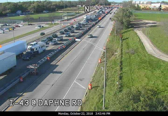 A state traffic camera at I-43 and Daphne Road shows traffic backed up for miles on southbound I-43. Authorities closed the southbound freeway north of Hampton Avenue after a single-vehicle crash Monday.