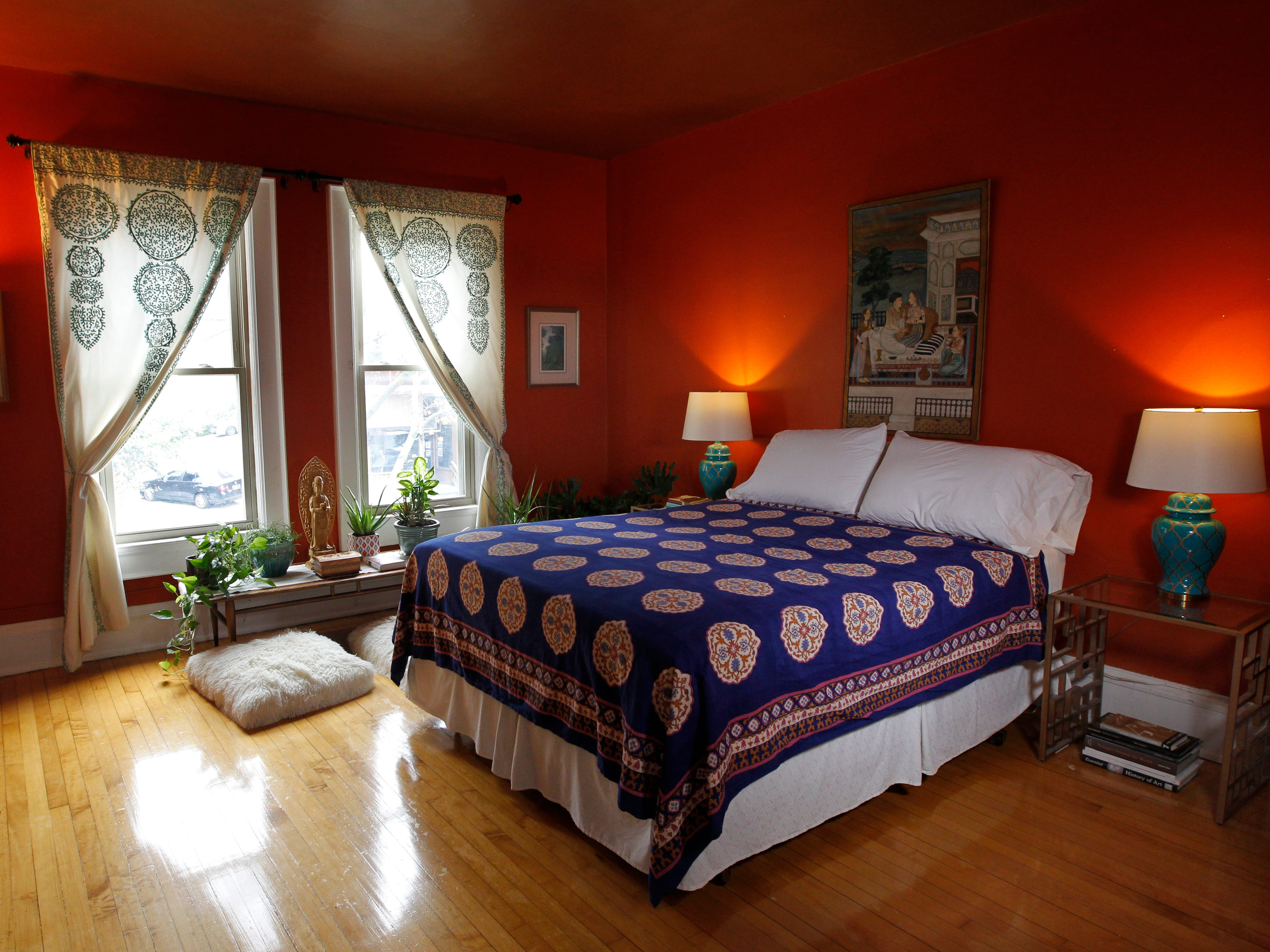 Kevin Kriehn and Mara Duckens followed an Indian-inspired theme for their master bedroom.