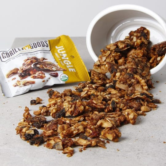 "Gorilly Goods ""Jungle"" flavor has bananas, raisins, cashews, walnuts, pecans, coconut, and sea salt."