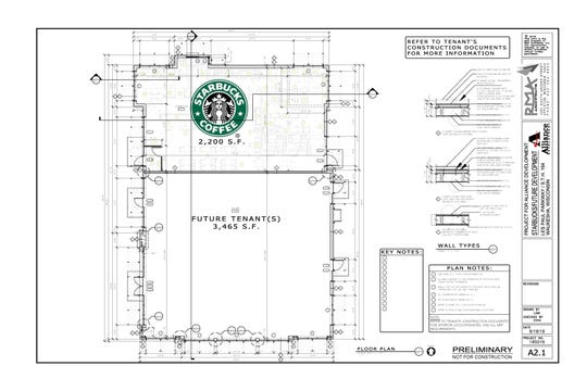 Starbucks is the only tenant listed in a 5,465-square-foot development proposal for an outlot that's part of the Woodman's development at Les Paul Parkway and Main Street in Waukesha. This outlot is along Highway 164 just north of Culver's restaurant.
