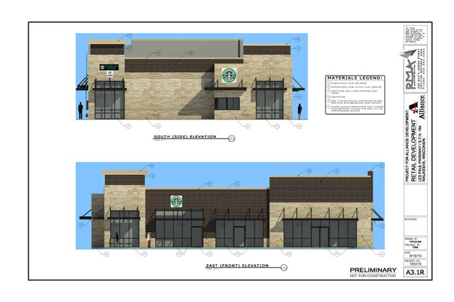 This rendering of a new Starbucks near the Waukesha Woodman's shows the familiar design of coffee chain's stores. The plan is expected to be considered by the Waukesha Plan Commission on Oct. 24.