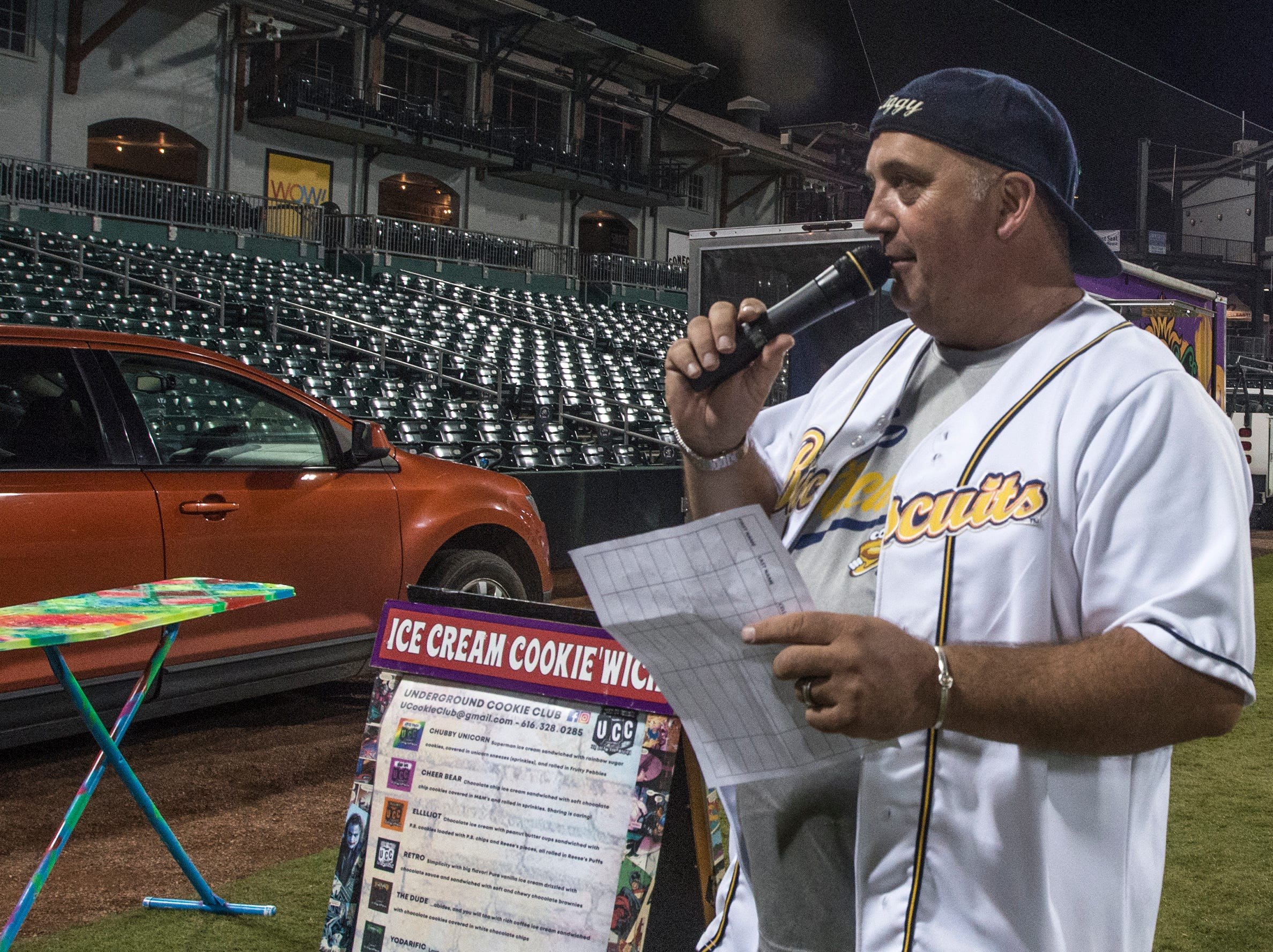 D.J. Ziggy makes an announcement. Food Truck Mash-Up returned to Riverwalk Stadium on Saturday, Oct. 20, 2018, bringing a variety of food trucks, music and games for guests to enjoy.