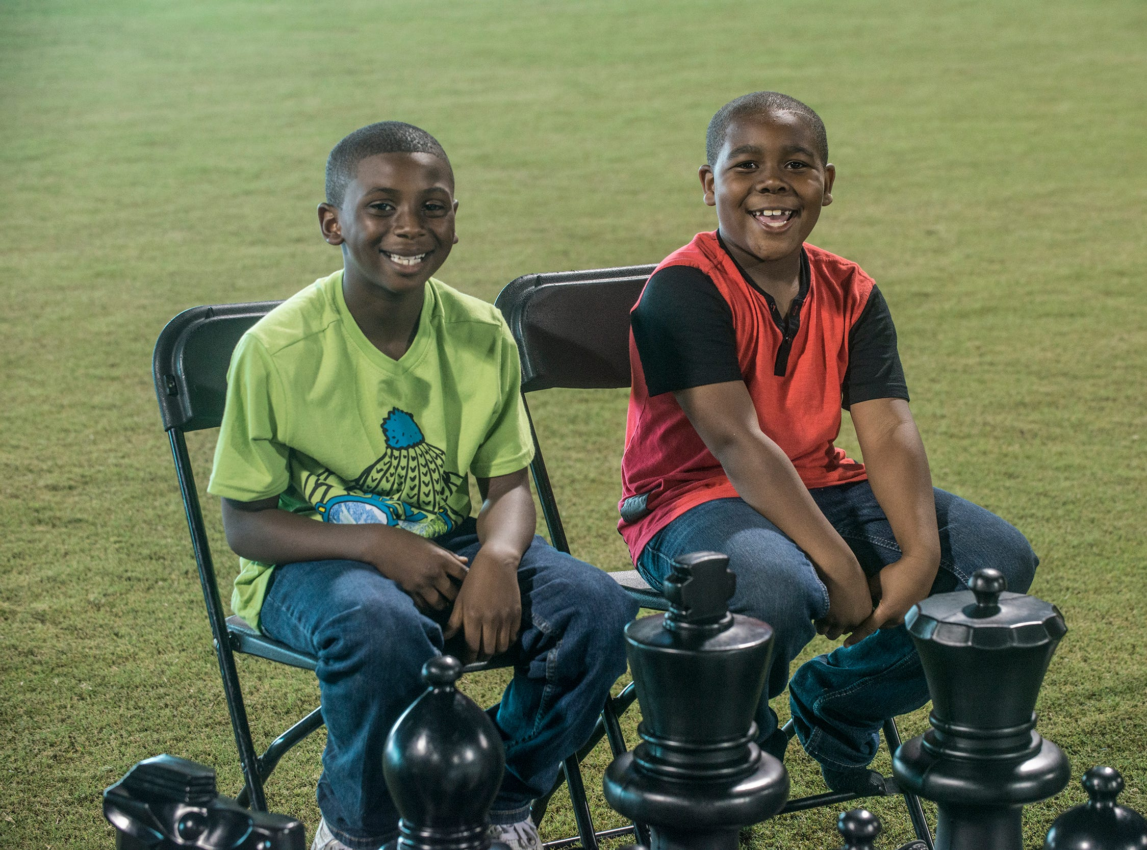 Kids play a game of giant chess Saturday. Food Truck Mash-Up returned to Riverwalk Stadium on Saturday, Oct. 20, 2018, bringing a variety of food trucks, music and games for guests to enjoy.