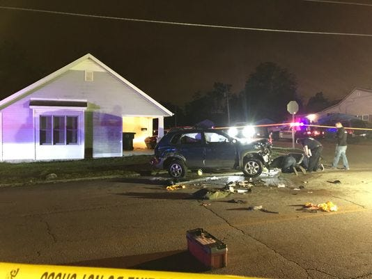 Muncie police on Oct. 14 investigated a traffic accident at Highland Avenue and Elgin Street. Authorities said after a teenager was ejected from the SUV, the vehicle flipped onto its side on top of her. Citizens pushed the vehicle back onto its wheels.