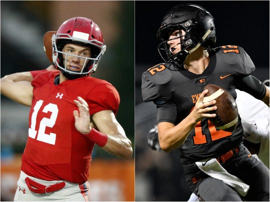 Brentwood Academy quarterback Wade Williams (left) and Ensworth quarterback Cole Kennon (right)