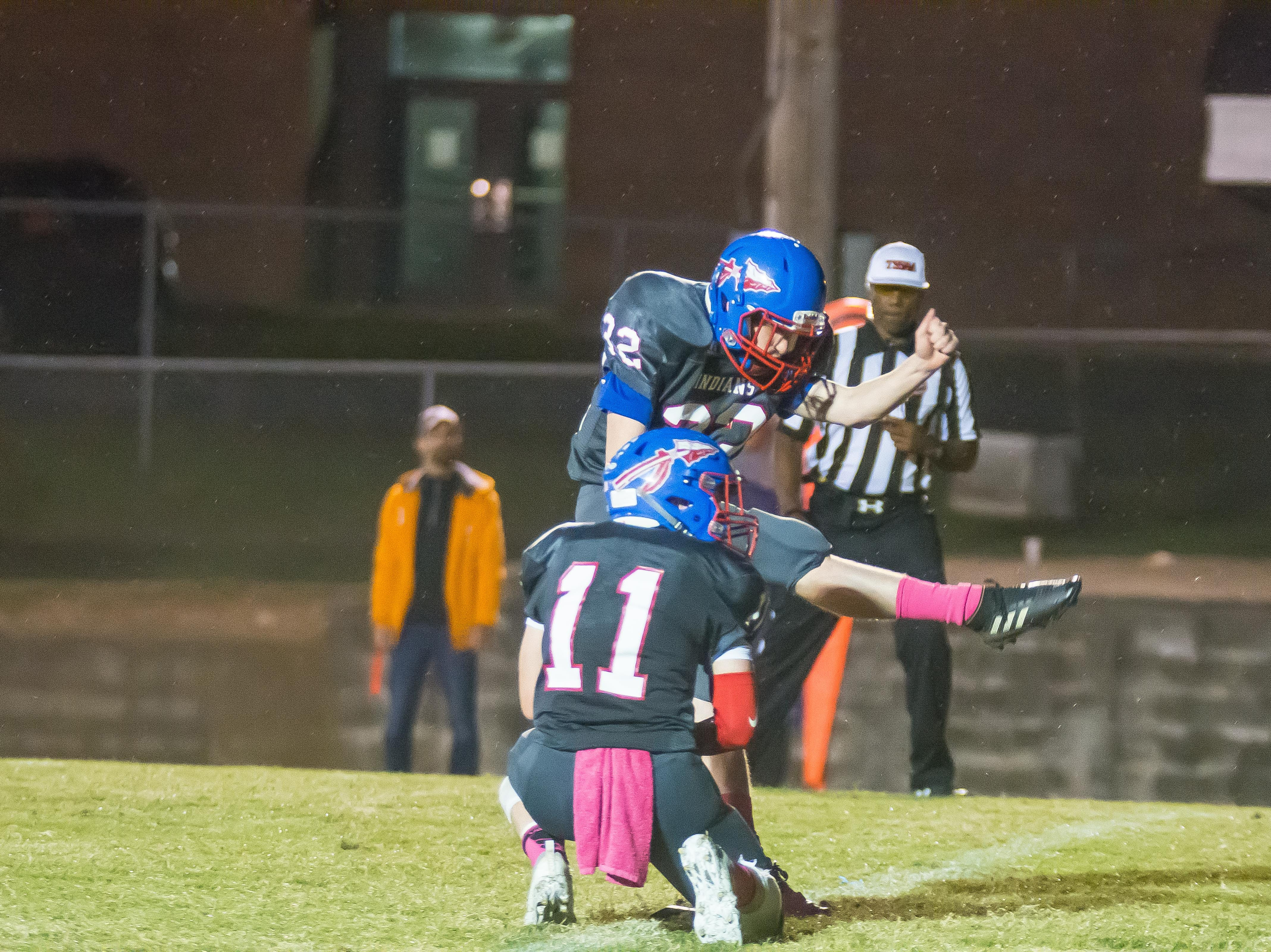 Junior Kicker was 4 0f 5 on Extra Poits tonight for the Indians!