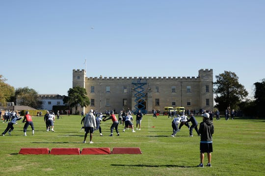 Titans players practice at Syon House on Oct. 19 in preparation for a game against the Los Angeles Chargers at Wembley Stadium.