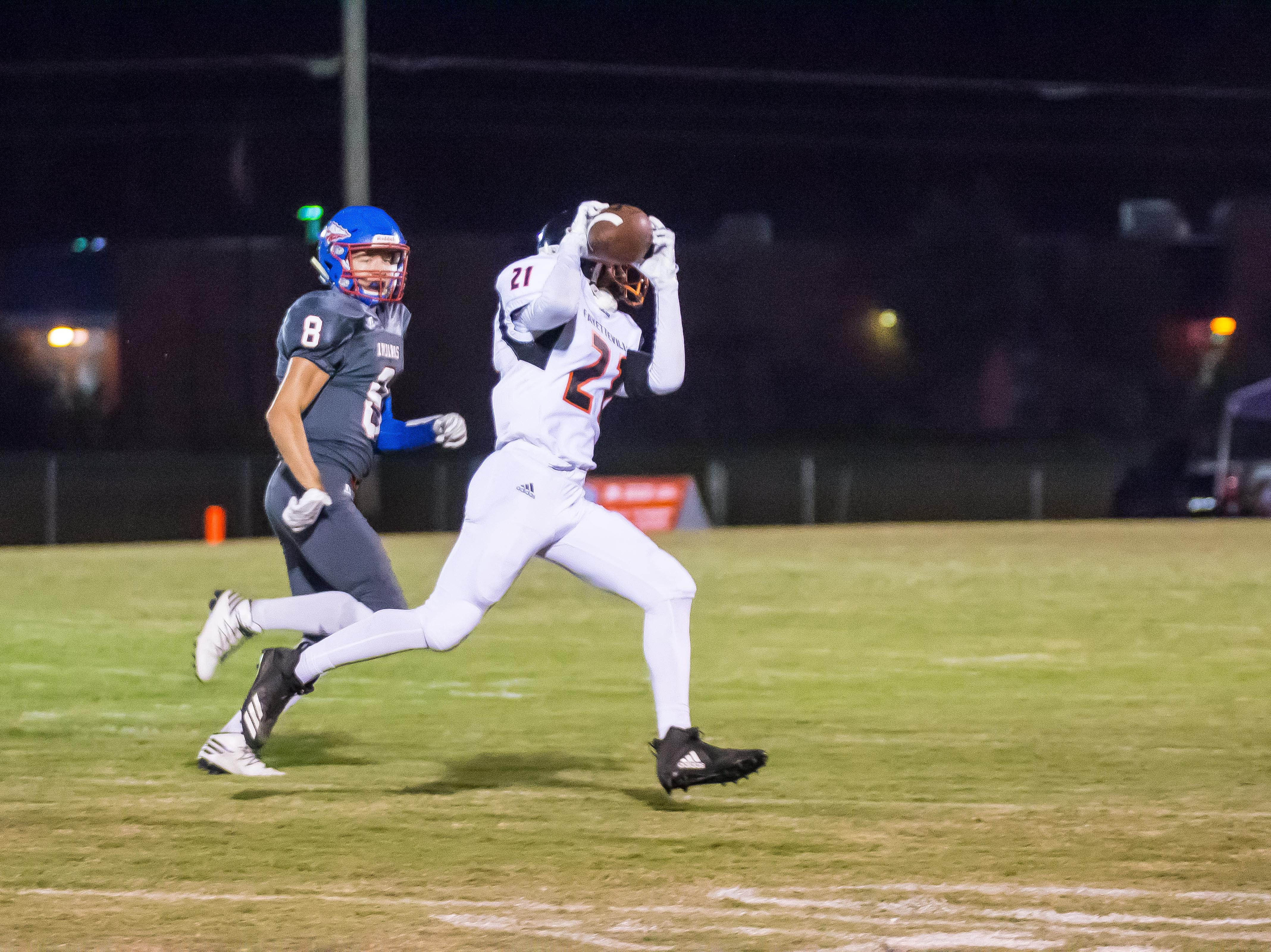 Fayetteville's Jalen Buchanan with a catch against Harpeth.