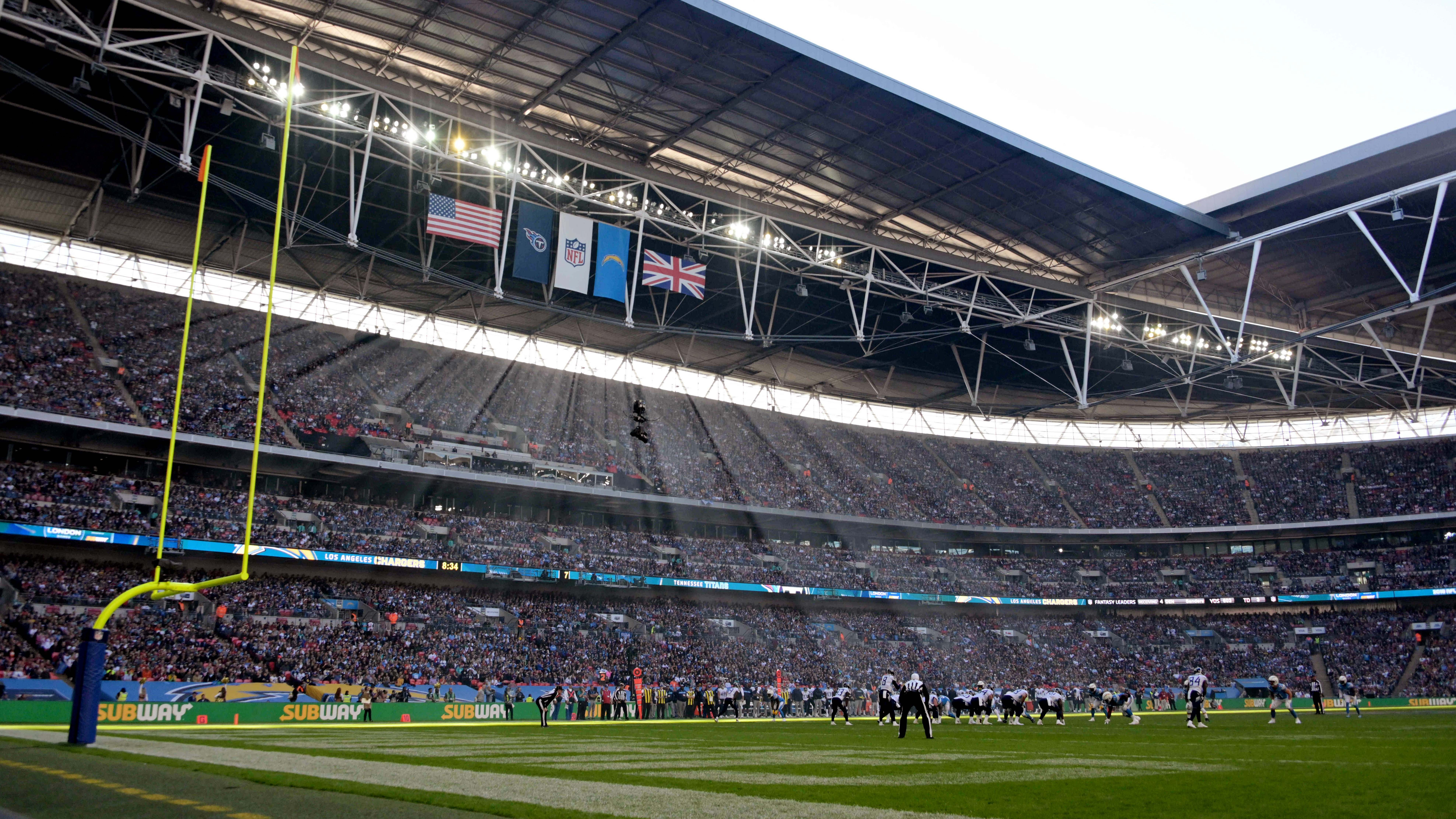 The Titans and Los Angeles Chargers in action Oct 21, 2018, at Wembley Stadium.