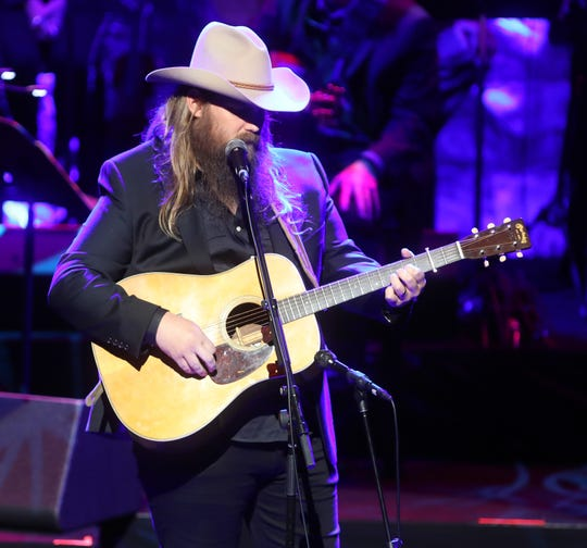 Chris Stapleton performs during the 2018 Medallion Ceremony held at the CMA Theater in the Country Music Hall of Fame on Sunday, Oct. 21, 2018.