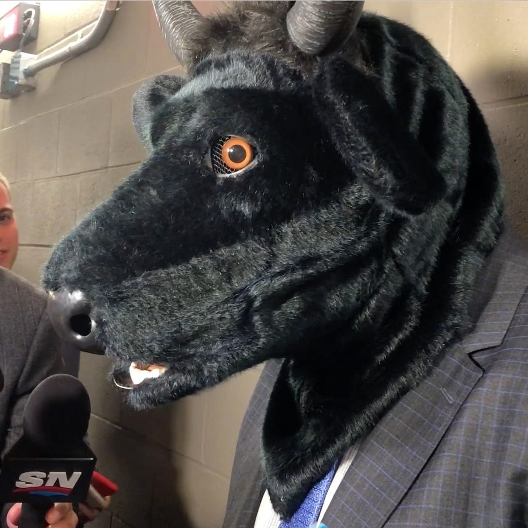 Predators coach Peter Laviolette says wife bought bull mask, which is now 'retired'