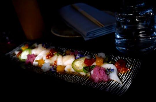 A dish of walu, tomatoes, shishito, jalapeno, radish, bergamot, ponzu and sesame is available at The Green Pheasant, a new Japanese restaurant in SoBro.