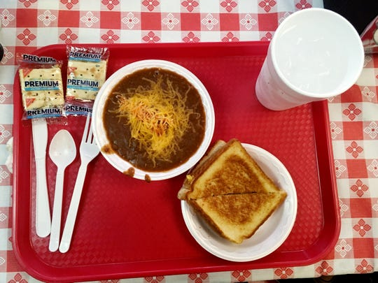 A bowl of chili and a grilled cheese makes a hearty and affordable lunch at Varallo's.