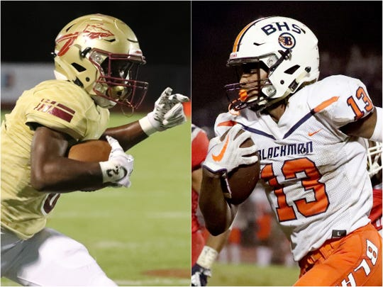 Riverdale's Jaylan Simmons (left) and Blackman's Trey Knox (right)