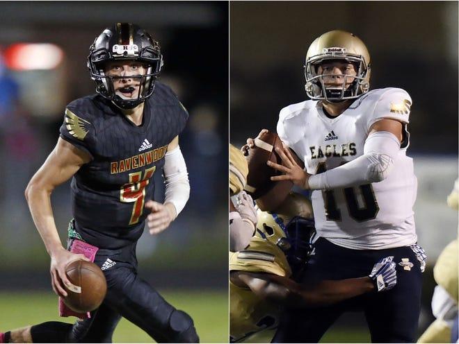Ravenwood quarterback Brian Garcia (left) and Independence quarterback Ethan Cash (right)