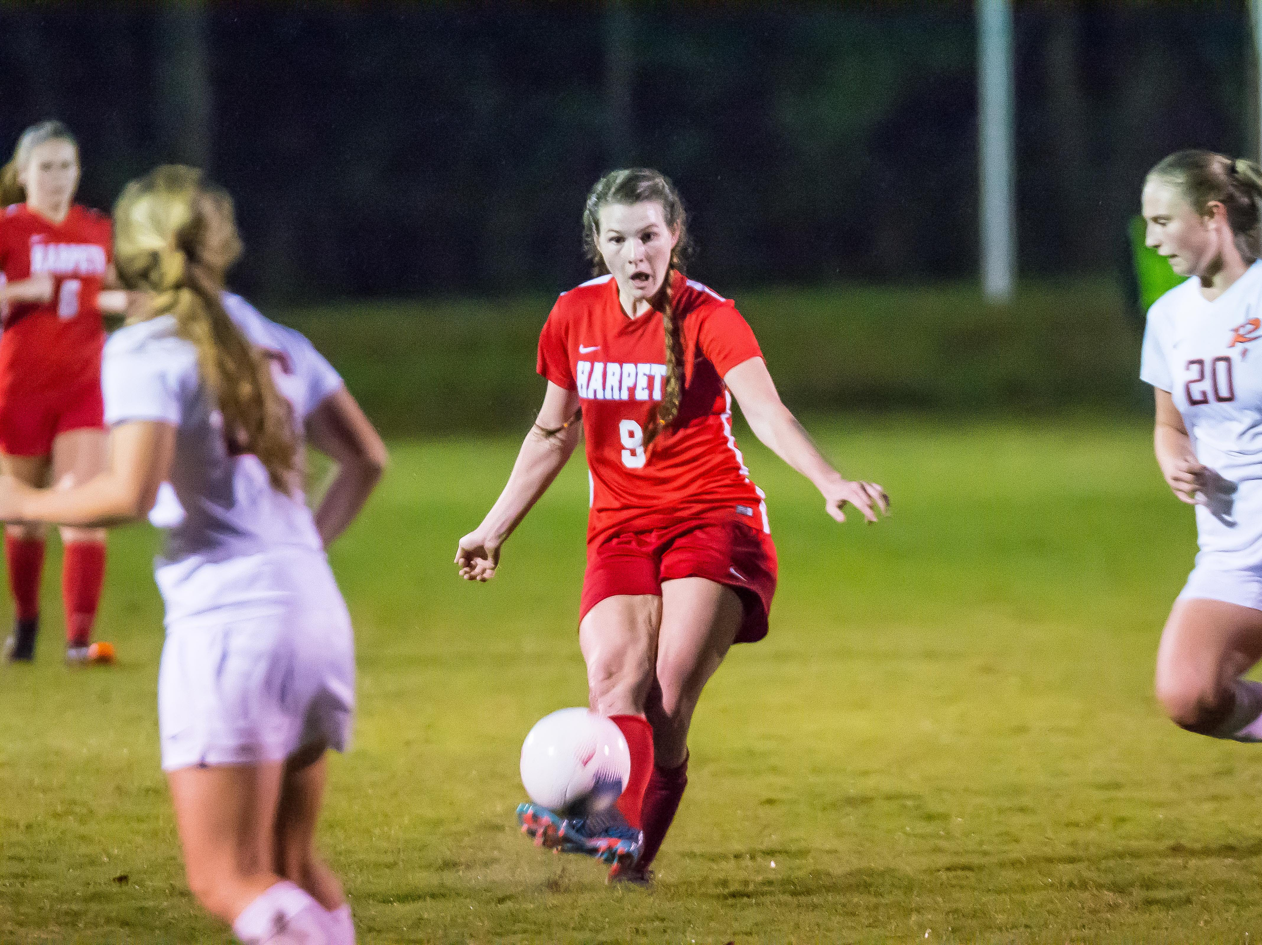 Harpeth's Madison Chester scored the only goal of the 1-0 Harpeth victory.