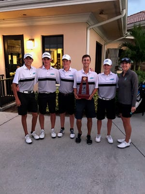 The Gulf Coast High School boys golf team won the Class 3A-Region 5 championship on Oct. 22 in Sarasota, and will try for its second straight Class 3A state championship next week. The Class 1A and 2A state tournaments are Tuesday and Wednesday, and Friday and Saturday, respectively.